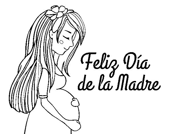 Desenho De Mama Gravida No Dia Da Mae Para Colorir Colorir Com