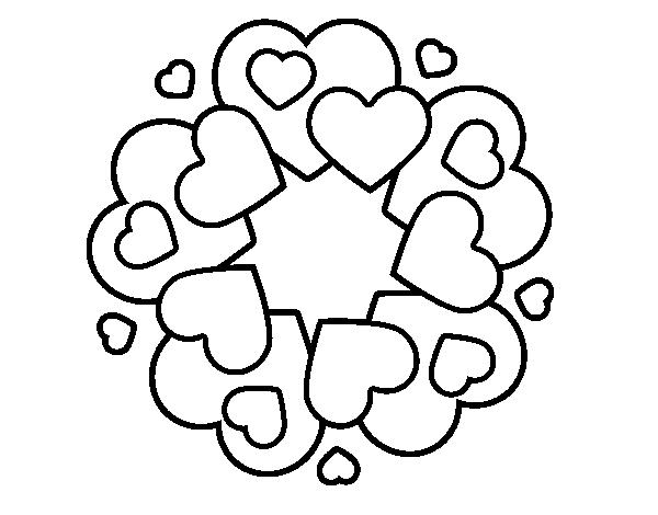 Corações Desenhos Para Colorir Colorir: Desenho De Mandala Com Corações Para Colorir