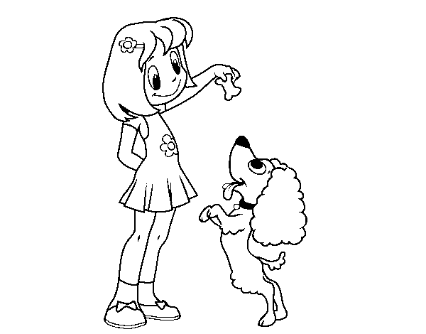 Desenho De Menina Com Cachorro Para Colorir