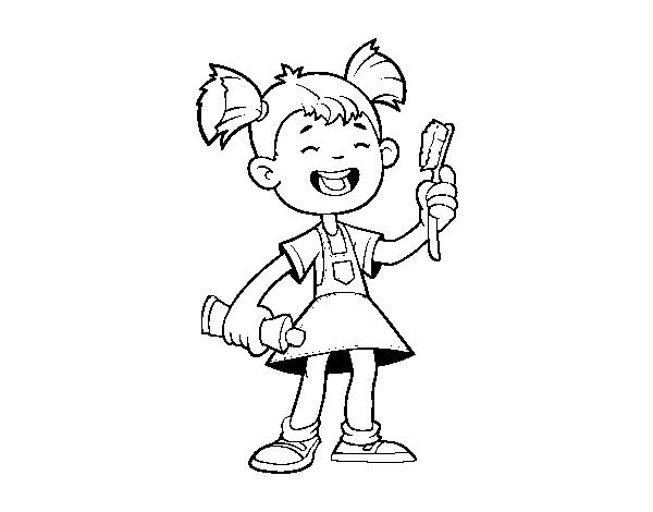 Desenho De Menina Com Escova De Dentes Para Colorir Colorir Com