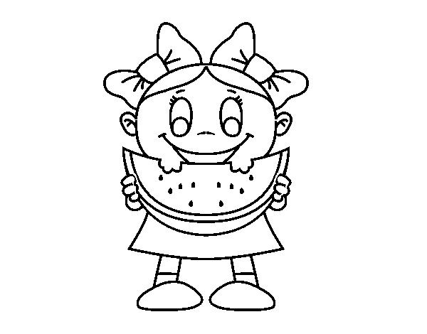 Desenho De Menina Com Melancia Para Colorir Colorir Com