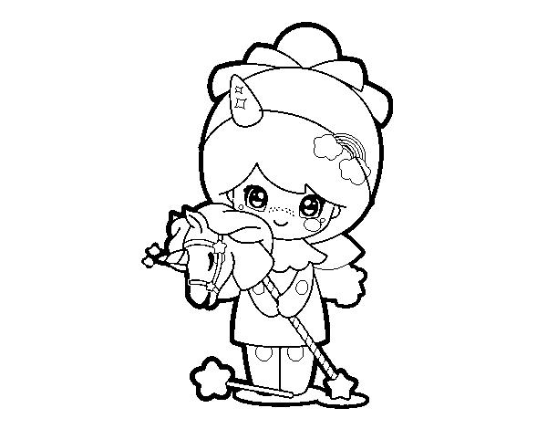 Desenho De Menina Disfarçada Kawaii Para Colorir