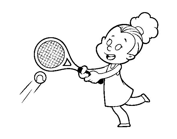 desenho de menina jogando o tênis para colorir colorir com