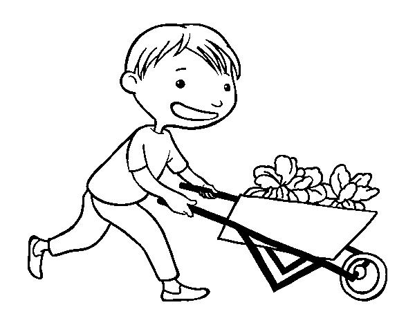 Desenho De Menino Con Carroca Para Colorir Colorir Com