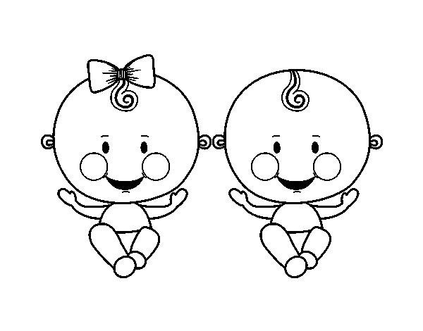 Desenho De Menino E Menina Gemeos Para Colorir Colorir Com