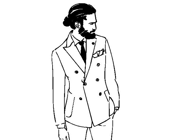 desenho de menino moderno com terno para colorir colorir com
