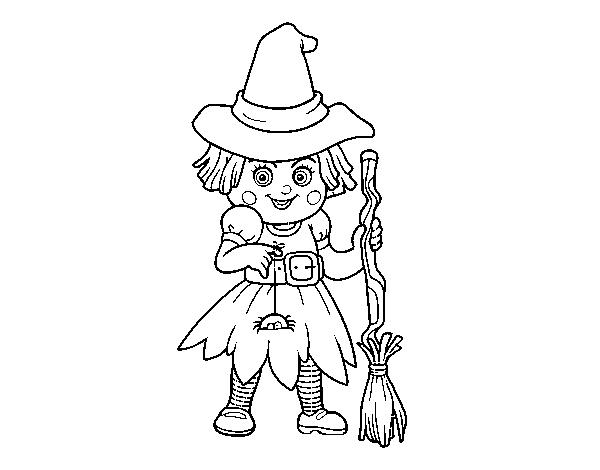 Desenho De Mini Bruja De Halloween Para Colorir