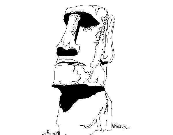 Desenho De Moai Da Ilha De Pascoa Para Colorir Colorir Com
