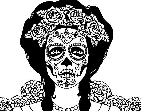 Desenho De Mulher Caveira Mexicana Para Colorir Colorir Com