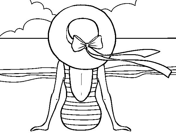 Desenho De Mulher Que Olha O Mar Para Colorir Colorir Com