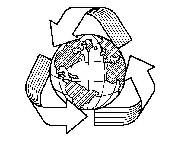 desenho de mundo reciclagem para colorir colorir com