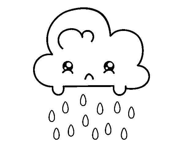 desenho de nuvem kawaii para colorir colorir com