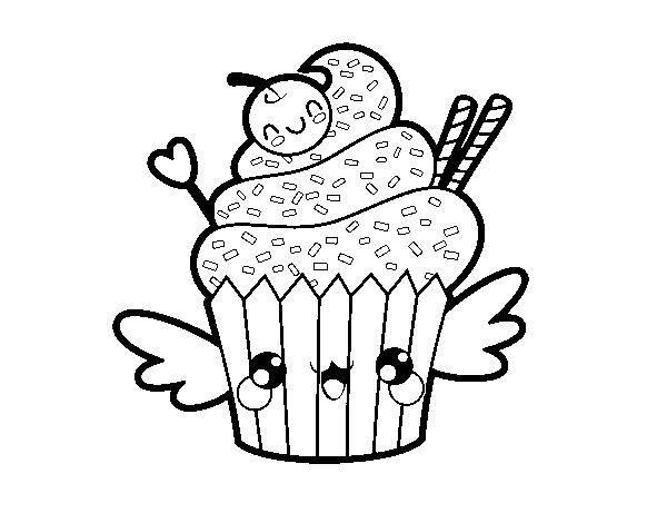 Desenhos Kawaii Para Colorir: Desenho De O Cupcake Kawaii Para Colorir