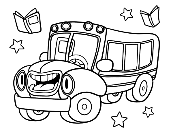 Desenho De Onibus Animado Para Colorir Colorir Com