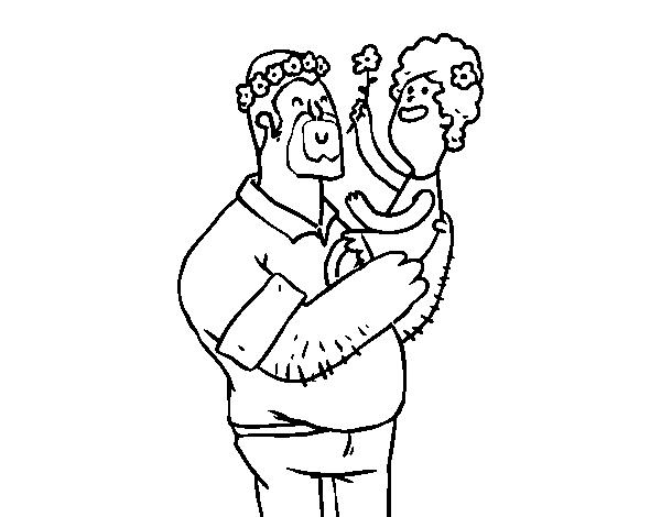 Desenho De Pai E Filha Com Flores Para Colorir