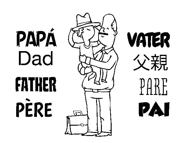 Desenho De Pai E Filho Com O Chapéu Para Colorir
