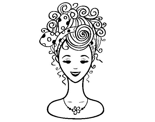 Desenho De Penteado Com Laco Para Colorir Colorir Com