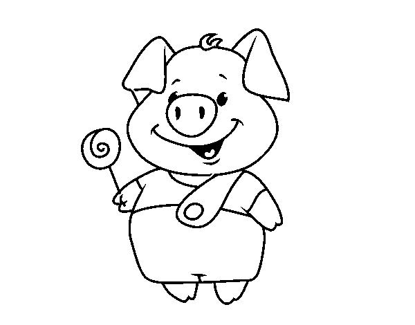 Desenho De Porquinho Com Pirulito Para Colorir Colorir Com