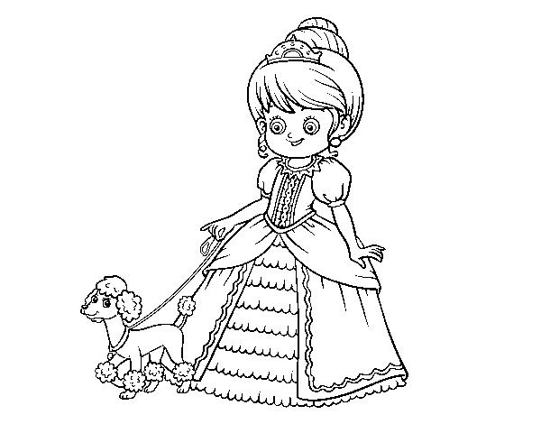 Desenho De Princesa Com Cachorro Para Colorir Colorir Com