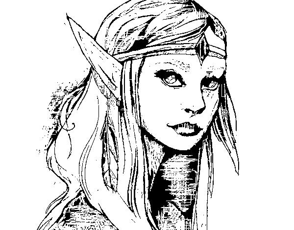 Desenhos Para Colorir Principe: Desenho De Princesa Elfo Para Colorir