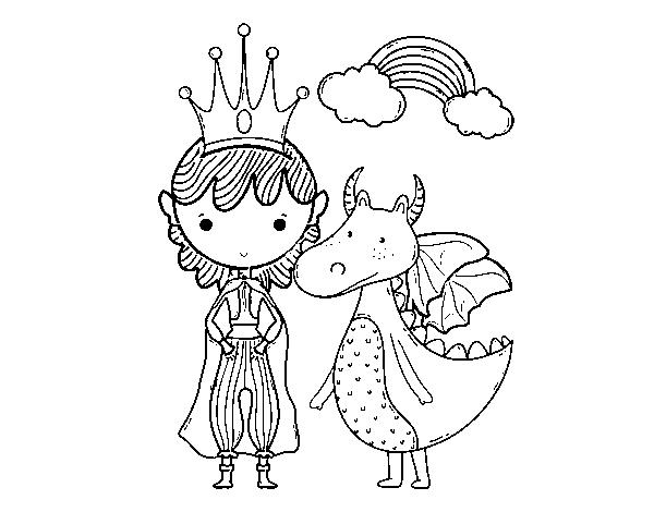 desenho de príncipe e dragão para colorir colorir com