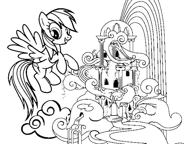Desenho de Rainbow Dash palácio para Colorir - Colorir.com