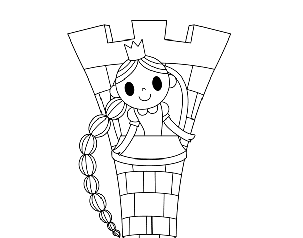 Desenho De Rapunzel Na Torre Para Colorir Colorir Com
