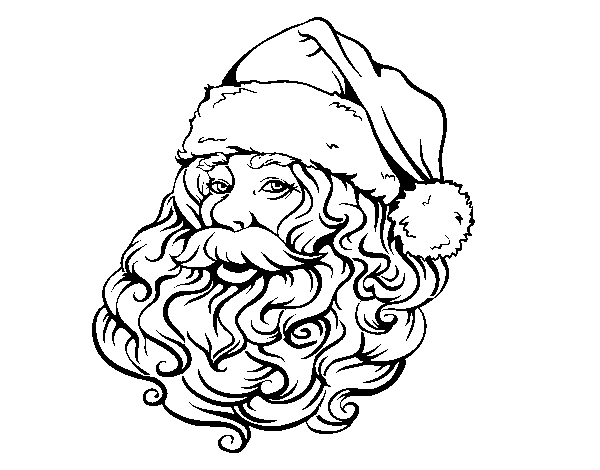 Desenho De Rosto De Papai Noel Para O Natal Para Colorir