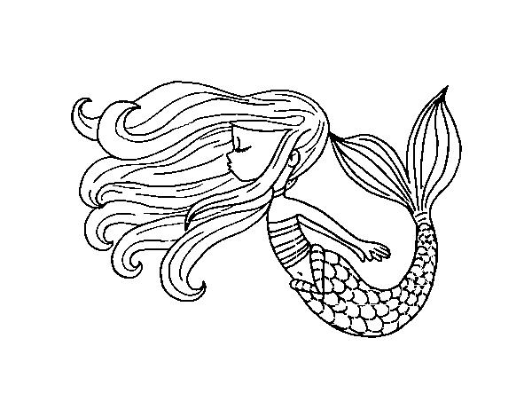 Desenho De Sereia Flutuante Para Colorir
