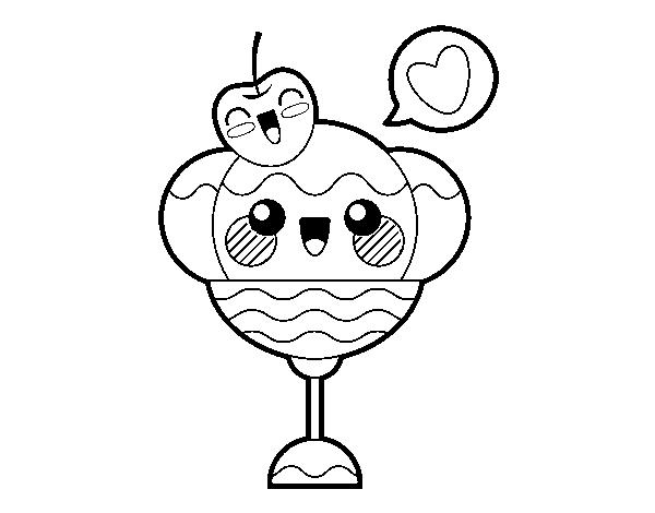 desenho de sundae kawaii para colorir colorir com