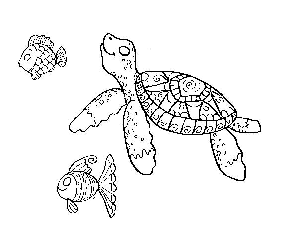 Desenho De Tartaruga De Mar Com Peixes Para Colorir