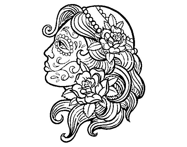 Desenho De Tatuagem De Catrina Para Colorir Colorir Com