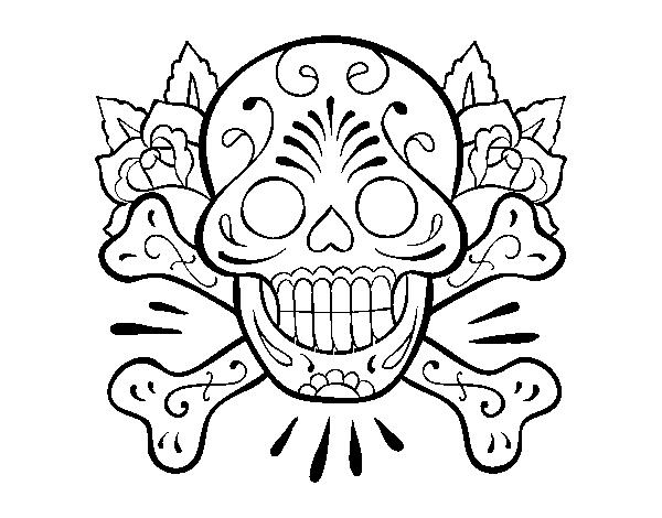 desenho de tatuagem de caveira para colorir colorir com