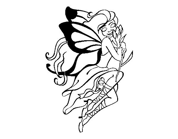Desenho De Tatuagem De Fada Para Colorir Colorir Com