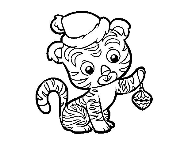 Desenho De Tigre De Natal Para Colorir Colorir Com