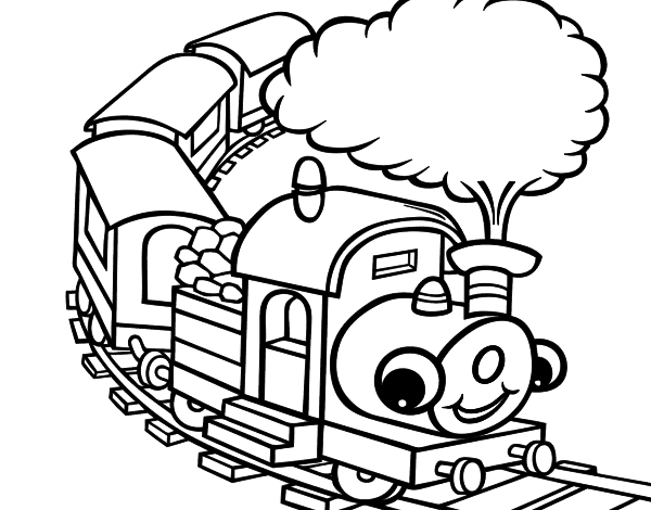 Desenho De Trem Sorridente Para Colorir Colorir Com