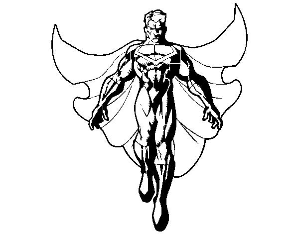 Desenho De Um Super Herói A Voar Para Colorir