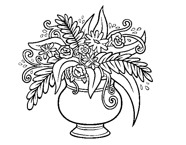 desenho de um vaso com flores para colorir colorir com