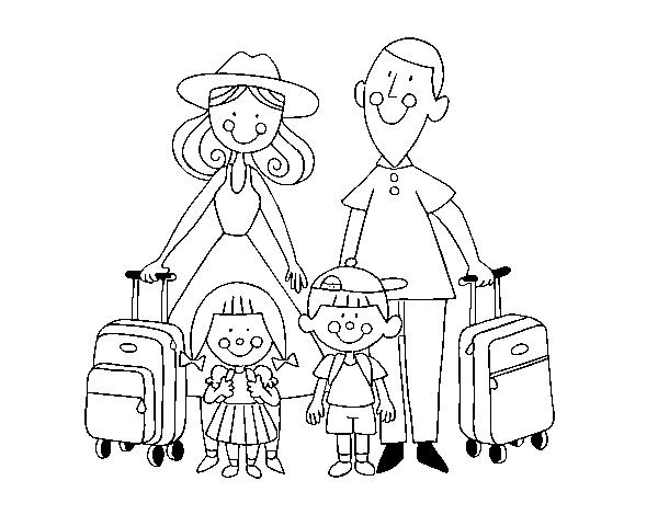 Desenho De Uma Familia De Ferias Para Colorir Colorir Com