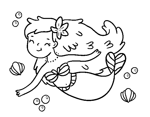 Desenho De Uma Sereia Feliz Para Colorir Colorir Com