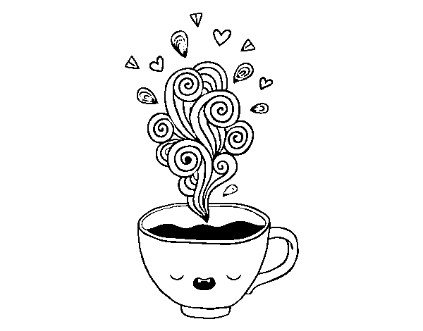 desenho de xícara de café kawaii para colorir colorir com